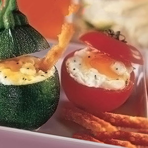 Eggs with Boursin in Tomato and Zucchini Cases with Boursin Garlic & Fine Herbs Cheese