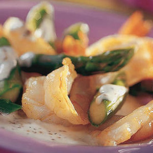 Peppered Shrimp and Asparagus with Boursin Pepper Cheese