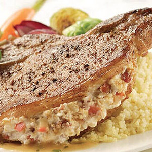 Boursin-stuffed Pork Chops with Boursin Pepper Cheese