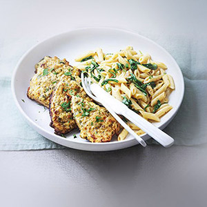 Veal Cutlets with Spinach and Penne Cream Sauce with Boursin Garlic & Fine Herbs Cheese